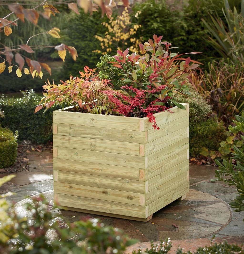Image of: Blok Timber Planter Square Wooden Planters Taylor Made