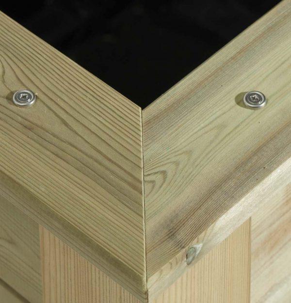 Close up of a timber planter build