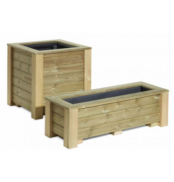 A square wooden planter with a wooden vegetable trough