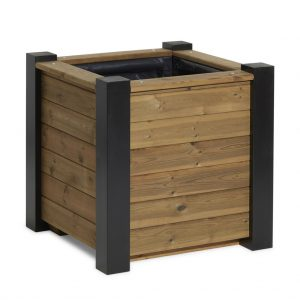 Tudor timber planter box painted in Black Sadolin Woodstain