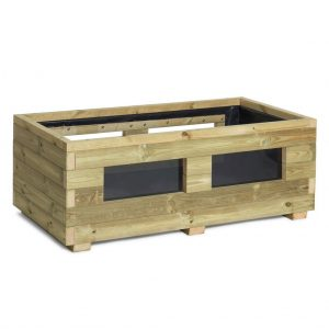 Wooden vegetable planter with window