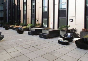 Contemporary planters in the Hammersmith Palais Courtyard