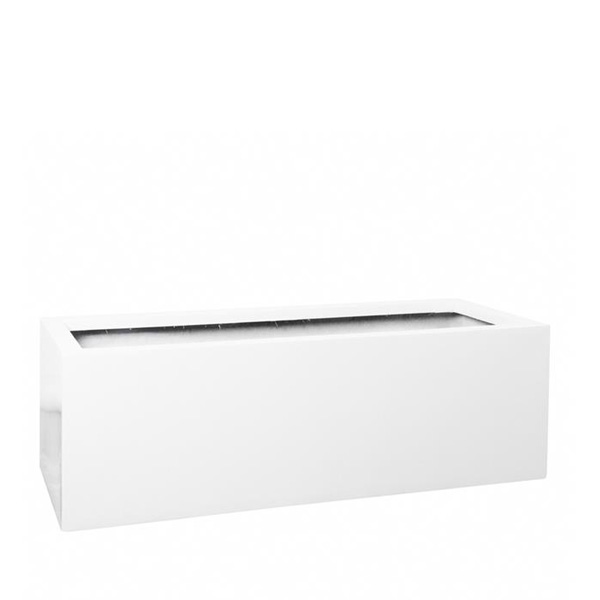 White fiberstone trough planter
