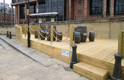 Timber decking at the Quayside Seaside project