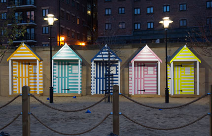 Beach huts in Newcastle for the Quayside Seaside location