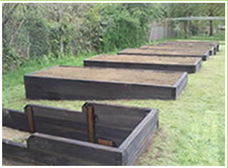 Sleeper vegetable planters made of timber