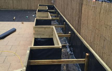 Custom planters project in progress