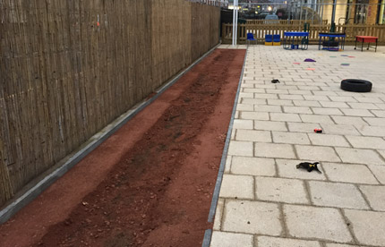 Vegetable bed with soil at a Primary school