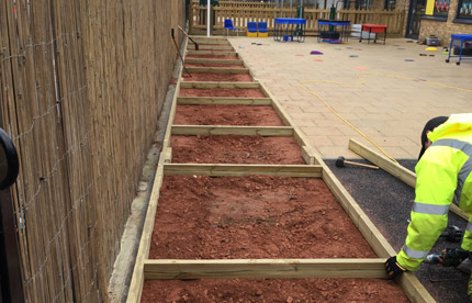 Soil is added to our bespoke vegetable beds