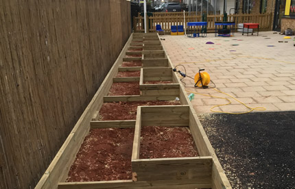 Bespoke vegetable beds with lining and soil