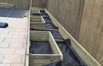 Completed vegetable beds with lining