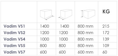 Vadim Galvanised Steel planter sizes