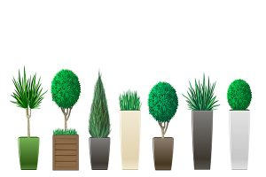 exterior planters in different materials