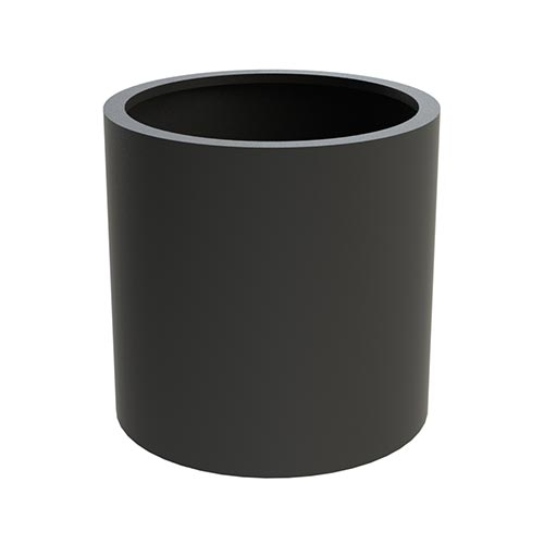 A round flower pot made from lightweight Aluminium