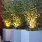Large square aluminium planters in white
