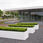 White Aluminium troughs for neat hedging