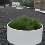 Large round planter in White Fibreglass