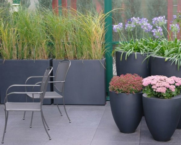 Fobreglass bowls for planting outdoors