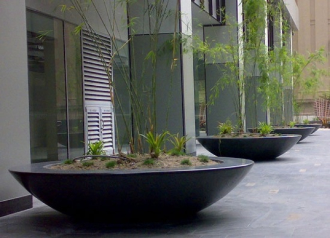 Large Fibreglass bowls in a commercial space
