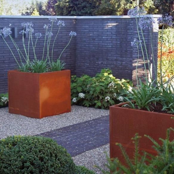 Large square Corten Steel Planters