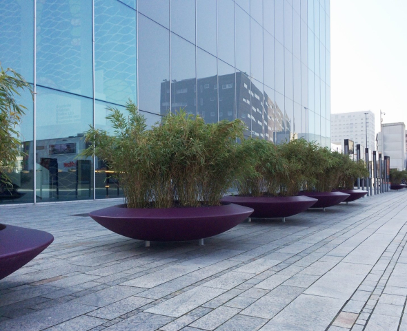 Purple Fibreglass Planters in a commercial space