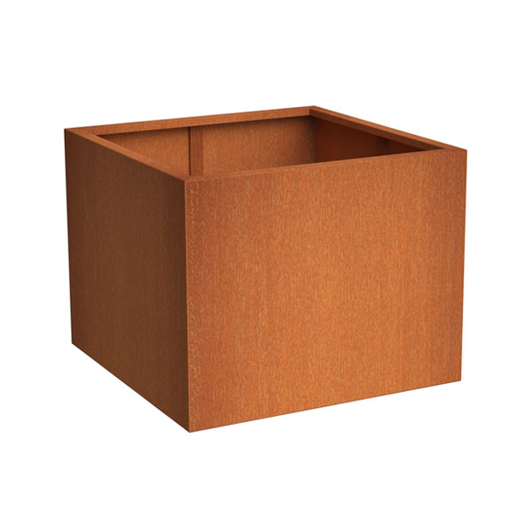 Square outdoor planter made with Corten Steel
