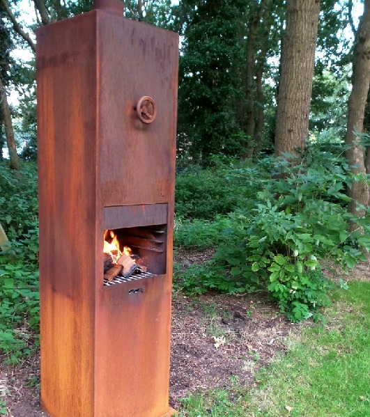Tall wood burning column