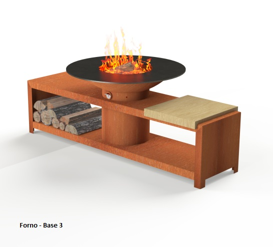 Corten Steel Forno BBQ with table base