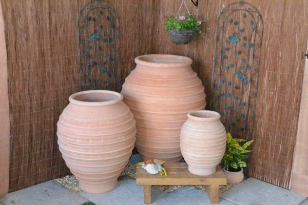 3 Sizes of the Koronios terracotta planter