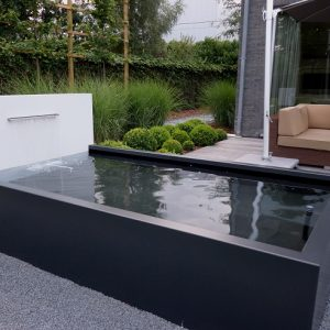 Stylish water feature in black and white
