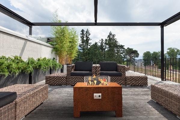 Corten Steel gas burner for a garden