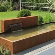 Long corten steel water pond
