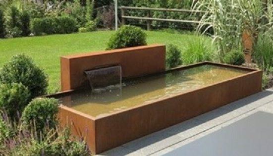 Long corten steel water pond