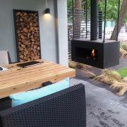 Suspended wood burner in black