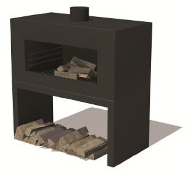 Wood burner in black