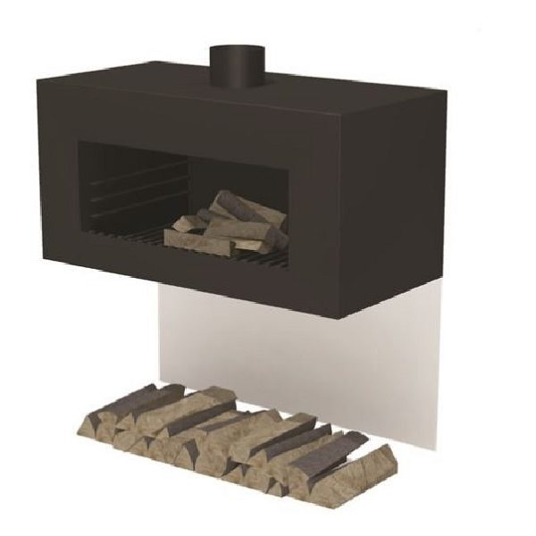 Square garden wood burner in black