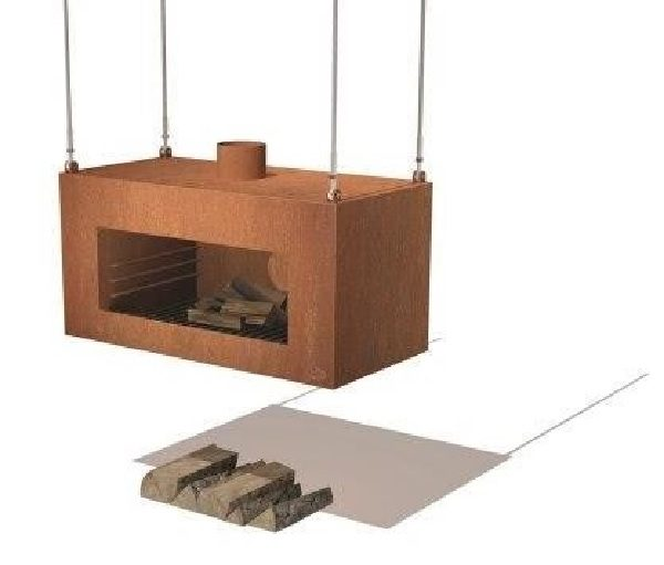 Suspended rustic wood burner