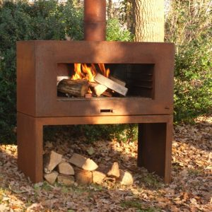 Rust steel garden wood burner