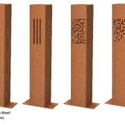 Corten lighting columns for outdoors