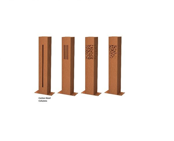 Garden Column Lights in Corten Steel