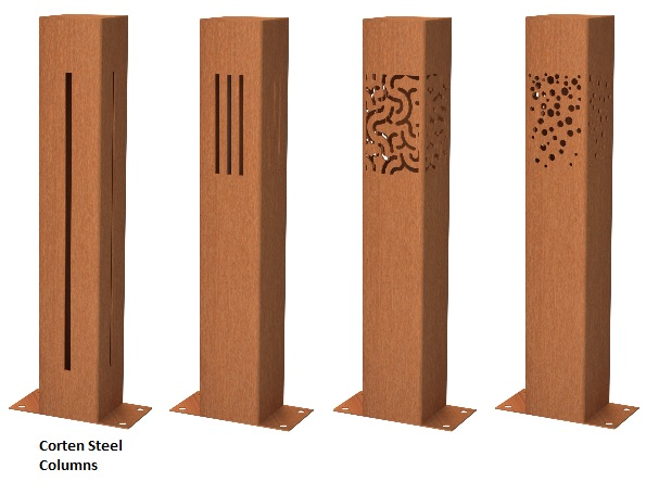 Corten lighting columns for outdoors