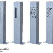 Zinc lighting columns for outdoors