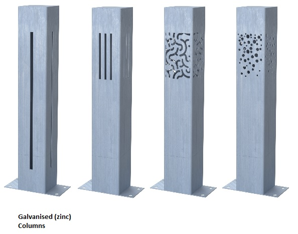 Zinc lighting columns for outdoors
