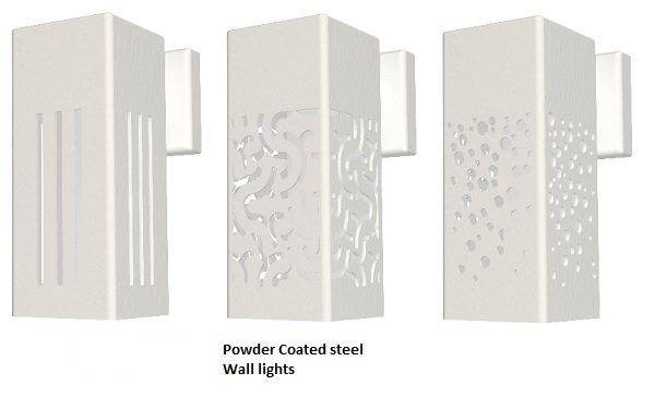 Powder coated steel wall lights