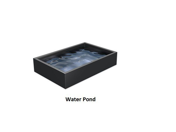 Black metal water pond