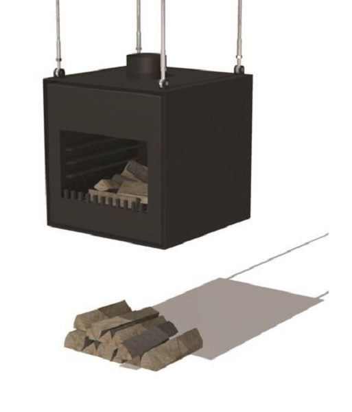 Suspended black wood burner