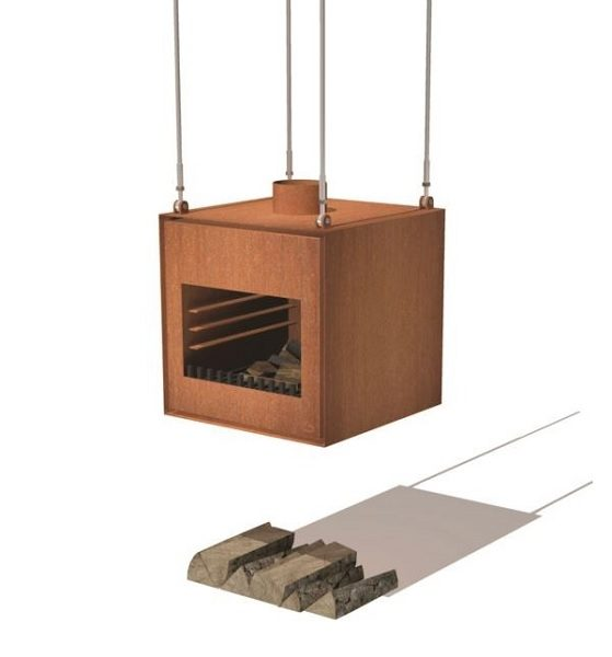 Suspended wood burner