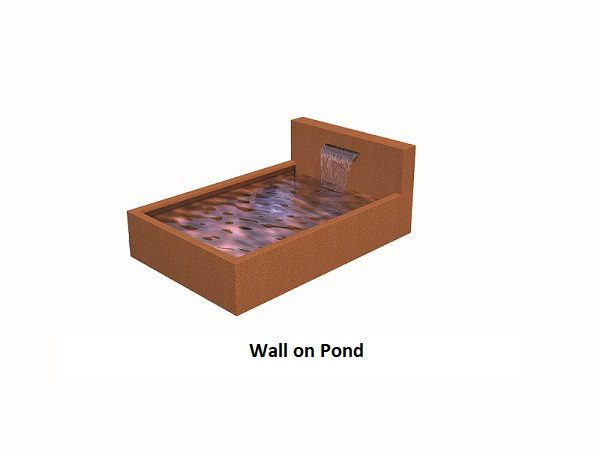 Corten steel water pond with back wall