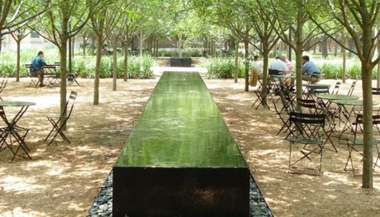 Large water feature in a public space