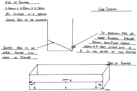 Drwaing plan for a custom bench planter